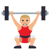 Man Lifting Weights: Medium-Light Skin Tone on JoyPixels 3.0