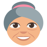 Old Woman: Medium-Light Skin Tone on EmojiOne 3.0