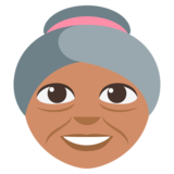 Old Woman: Medium Skin Tone on EmojiOne 3.0