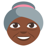 Old Woman: Dark Skin Tone on EmojiOne 3.0