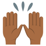Raising Hands: Medium-Dark Skin Tone on JoyPixels 3.0