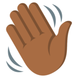 Waving Hand: Medium-Dark Skin Tone on JoyPixels 3.0