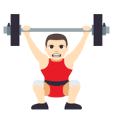 Person Lifting Weights: Light Skin Tone on JoyPixels 3.0