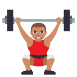 Person Lifting Weights: Medium Skin Tone on JoyPixels 3.0