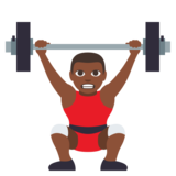 Person Lifting Weights: Dark Skin Tone on JoyPixels 3.0