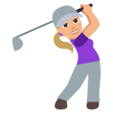 Woman Golfing: Medium-Light Skin Tone on JoyPixels 3.0