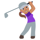 Woman Golfing: Medium Skin Tone on JoyPixels 3.0