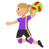 Woman Playing Handball: Medium-Light Skin Tone on JoyPixels 3.0