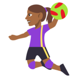 Woman Playing Handball: Medium-Dark Skin Tone on JoyPixels 3.0
