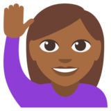 Woman Raising Hand: Medium-Dark Skin Tone on JoyPixels 3.0
