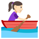 Woman Rowing Boat: Light Skin Tone on JoyPixels 3.0