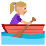 Woman Rowing Boat: Medium-Light Skin Tone on JoyPixels 3.0
