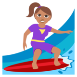 Woman Surfing: Medium Skin Tone on JoyPixels 3.0