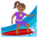 Woman Surfing: Medium-Dark Skin Tone on JoyPixels 3.0