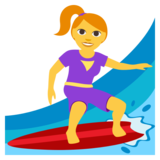 Woman Surfing on JoyPixels 3.0