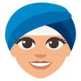 Woman Wearing Turban: Medium-Light Skin Tone on JoyPixels 3.0