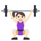 Woman Lifting Weights: Light Skin Tone on JoyPixels 3.0