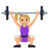 Woman Lifting Weights: Medium-Light Skin Tone on JoyPixels 3.0