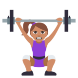Woman Lifting Weights: Medium Skin Tone on JoyPixels 3.0