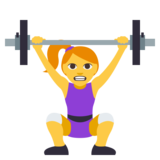 Woman Lifting Weights on JoyPixels 3.0