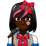 Woman Singer: Dark Skin Tone on emojidex 1.0.33