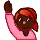 Person Raising Hand: Dark Skin Tone on emojidex 1.0.33