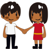 Woman and Man Holding Hands: Medium-Dark Skin Tone on emojidex 1.0.33