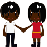Woman and Man Holding Hands: Dark Skin Tone on emojidex 1.0.33