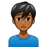 Man Frowning: Medium-Dark Skin Tone on emojidex 1.0.33