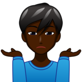Man Shrugging: Dark Skin Tone on emojidex 1.0.33