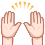 Raising Hands: Light Skin Tone on emojidex 1.0.33