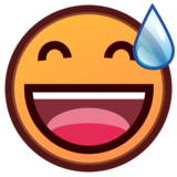 Grinning Face with Sweat on emojidex 1.0.33