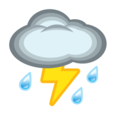 Cloud with Lightning and Rain on emojidex 1.0.33