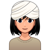 Woman Wearing Turban: Medium-Light Skin Tone on emojidex 1.0.33