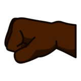 Left-Facing Fist: Dark Skin Tone on emojidex 1.0.34