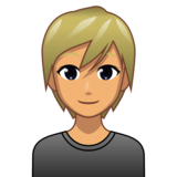 Person: Medium Skin Tone, Blond Hair on emojidex 1.0.34