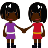 Women Holding Hands: Dark Skin Tone on emojidex 1.0.34