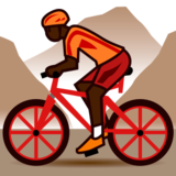 Person Mountain Biking: Dark Skin Tone on emojidex 1.0.14