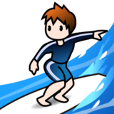 Person Surfing: Light Skin Tone on emojidex 1.0.14