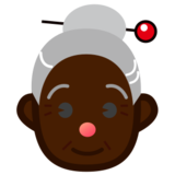 Old Woman: Dark Skin Tone on emojidex 1.0.19