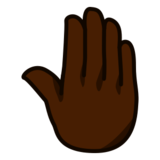 Raised Back of Hand: Dark Skin Tone on emojidex 1.0.19