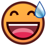Grinning Face With Sweat on emojidex 1.0.19