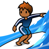 Person Surfing: Medium-Dark Skin Tone on emojidex 1.0.19