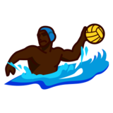 Person Playing Water Polo: Dark Skin Tone on emojidex 1.0.19