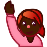 Person Raising Hand: Dark Skin Tone on emojidex 1.0.22