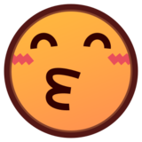 Kissing Face with Smiling Eyes on emojidex 1.0.22