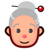 Old Woman: Medium-Light Skin Tone on emojidex 1.0.22