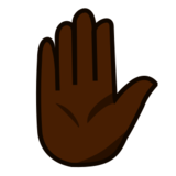 Raised Hand: Dark Skin Tone on emojidex 1.0.22