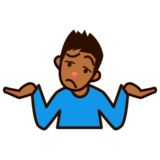 Person Shrugging: Medium-Dark Skin Tone on emojidex 1.0.22