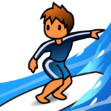 Person Surfing: Medium-Light Skin Tone on emojidex 1.0.22
